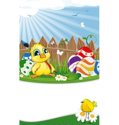 Cartoon chicken and Easter eggs vector image