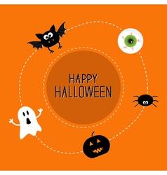 Ghost bat spider eye pumpkin happy halloween set vector