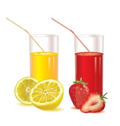 glasses for juice of strawberries and lemon vector image vector image