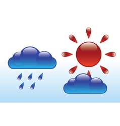 glossy sun and clouds vector image vector image