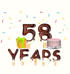 happy birthday fifty eight 58 year vector image vector image