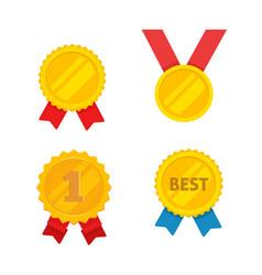 medal gold set flat cartoon golden vector image