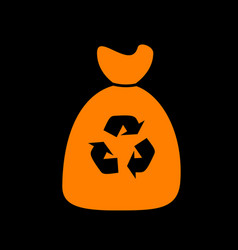 trash bag icon orange icon on black background vector image