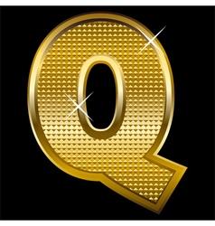 Golden font type letter q vector