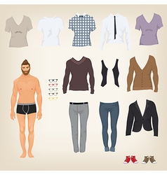 hipster dress up doll with an assortment of vector image
