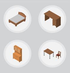 Isometric furnishing set of bedstead cupboard vector
