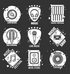 live music festival shop and recording studio vector image vector image