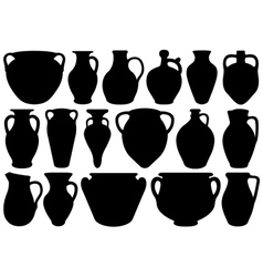 Set of different clay pottery vector image vector image