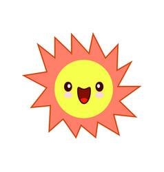 smiling yellow simple sun cartoon mascot character vector image