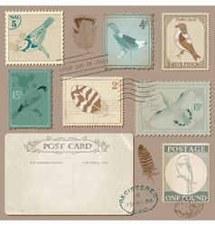 Vintage Postcard and Postage Stamps with Birds vector image vector image
