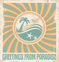 Vintage summer postcard template vector image vector image