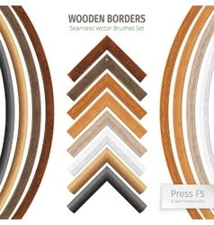 Wooden Borders Brushes vector image