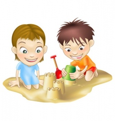 children in the sand vector image vector image