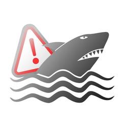 danger shark sign vector image vector image