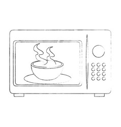 microwave oven with tea cup vector image