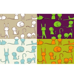 seamless doodle cats pattern vector image vector image