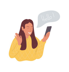 A happy girl makes a video call on phone and vector