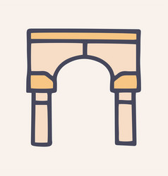 Arch color doodle simple icon design vector