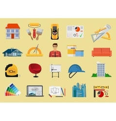 Architecture and Construction flat icons set vector image