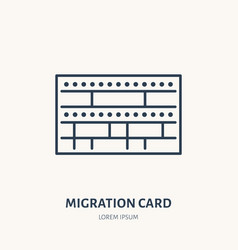 Arrival card identity flat line icon vector