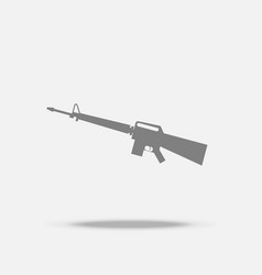 assault rifle flat icon with shadow vector image