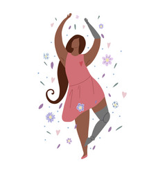 beautiful african girl dancing in flowers with vector image