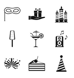 Best party icons set simple style vector