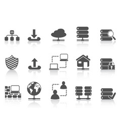 black network server hosting icons set vector image
