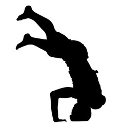 Black silhouettes breakdancer on a white vector