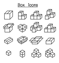 Box icon set in thin line style vector