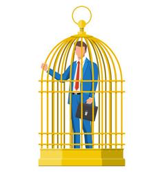 Business man locked in birds cage vector