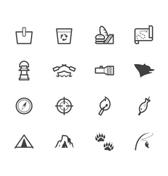 Camp black icon set on white background vector