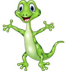 Cartoon funny green lizard posing isolated on whit vector image