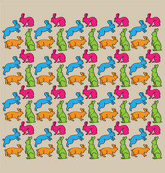 cartoon rabbit background pattern seamless vector image