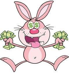 Cartoon rabbit with money vector