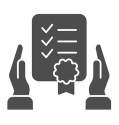 Certificate in hands solid icon warranty list vector