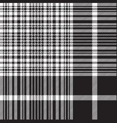 check black white plaid seamless pattern vector image