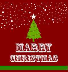 christmas card with red snow background vector image