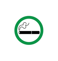Cigarette sign symbol and icon in a green circle vector