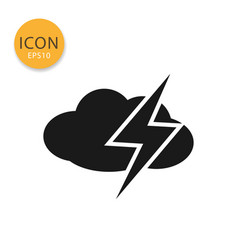cloud with thunder icon isolated flat style vector image