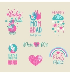 Collection of cute baby and kid logo vector