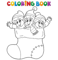 Coloring book image christmas 1 vector
