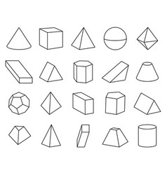 cone and pyramid shapes set vector image