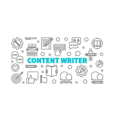 Content writer line horizontal vector