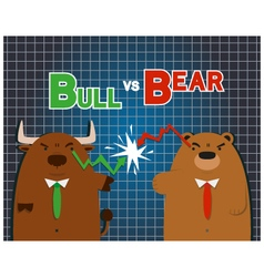Cute big bull bear cartoon versus in stock market vector