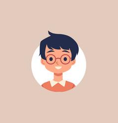Cute cartoon boy with glasses and black hair vector