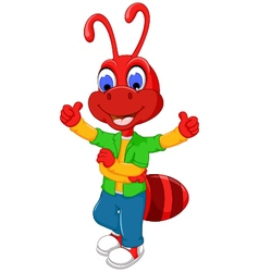 Cute red ant cartoon thumb up vector