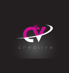 Cv c v creative letters design with white pink vector