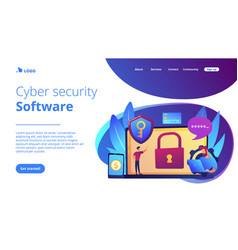 Cyber security software concept landing page vector