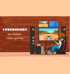 Cybersport cartoon characters composition vector